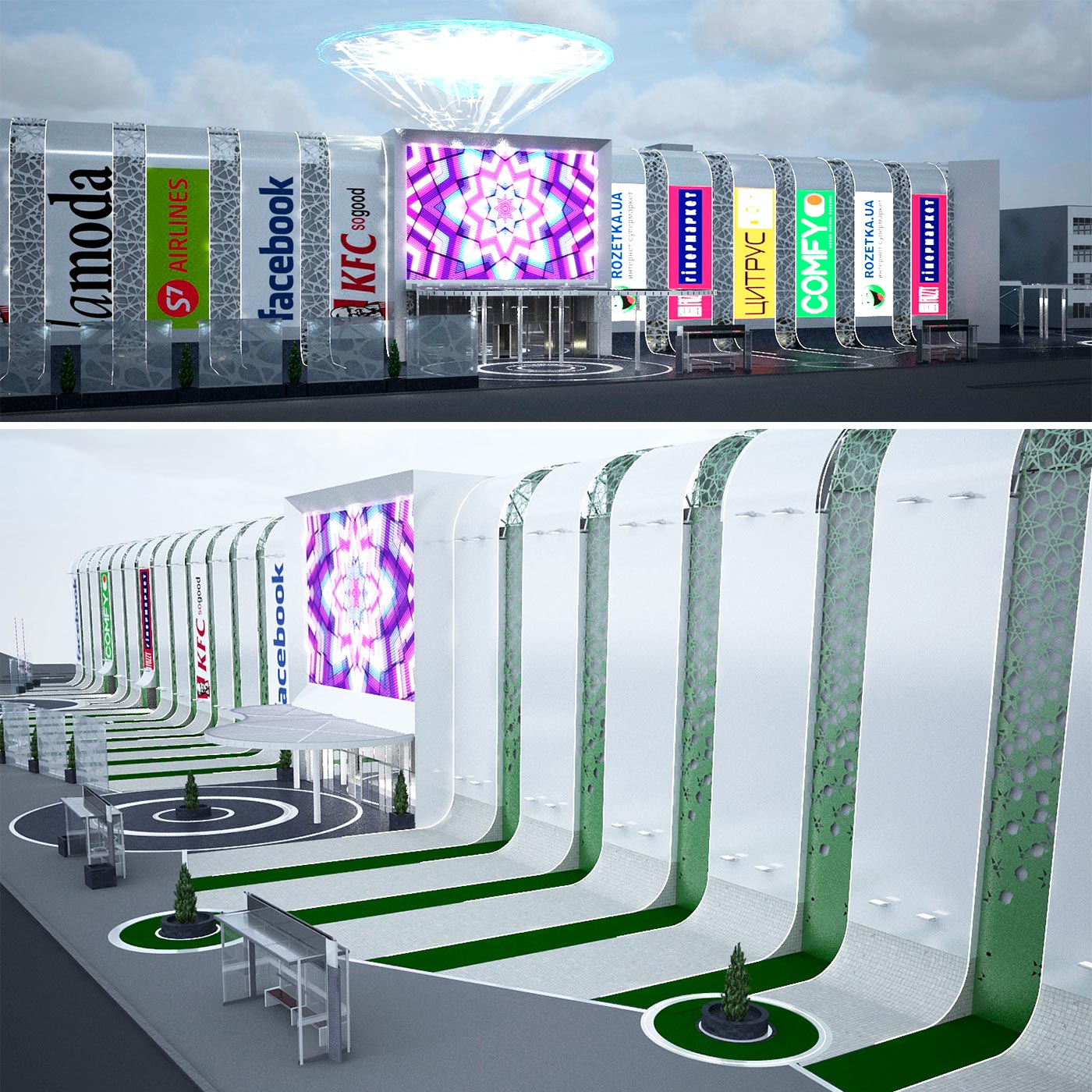 Design of a shopping center facade in 3d and visualization