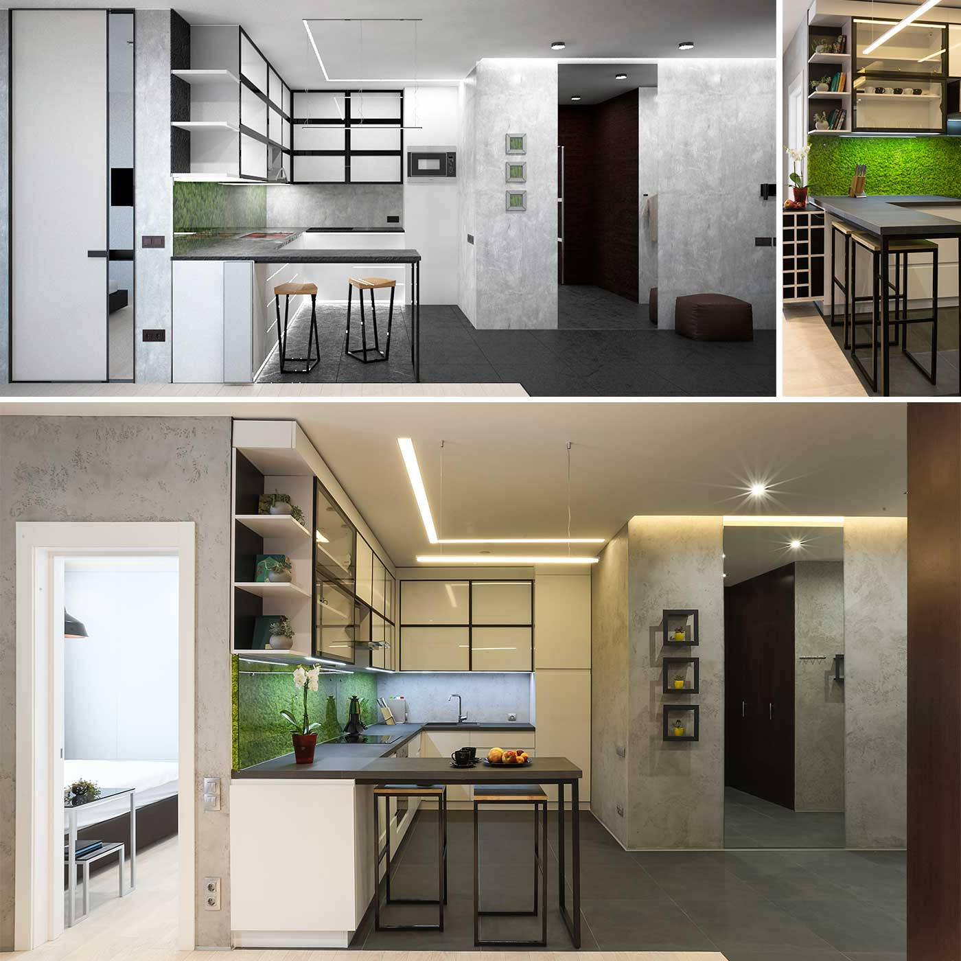 Interior design project you can see visualization before and photo after construction