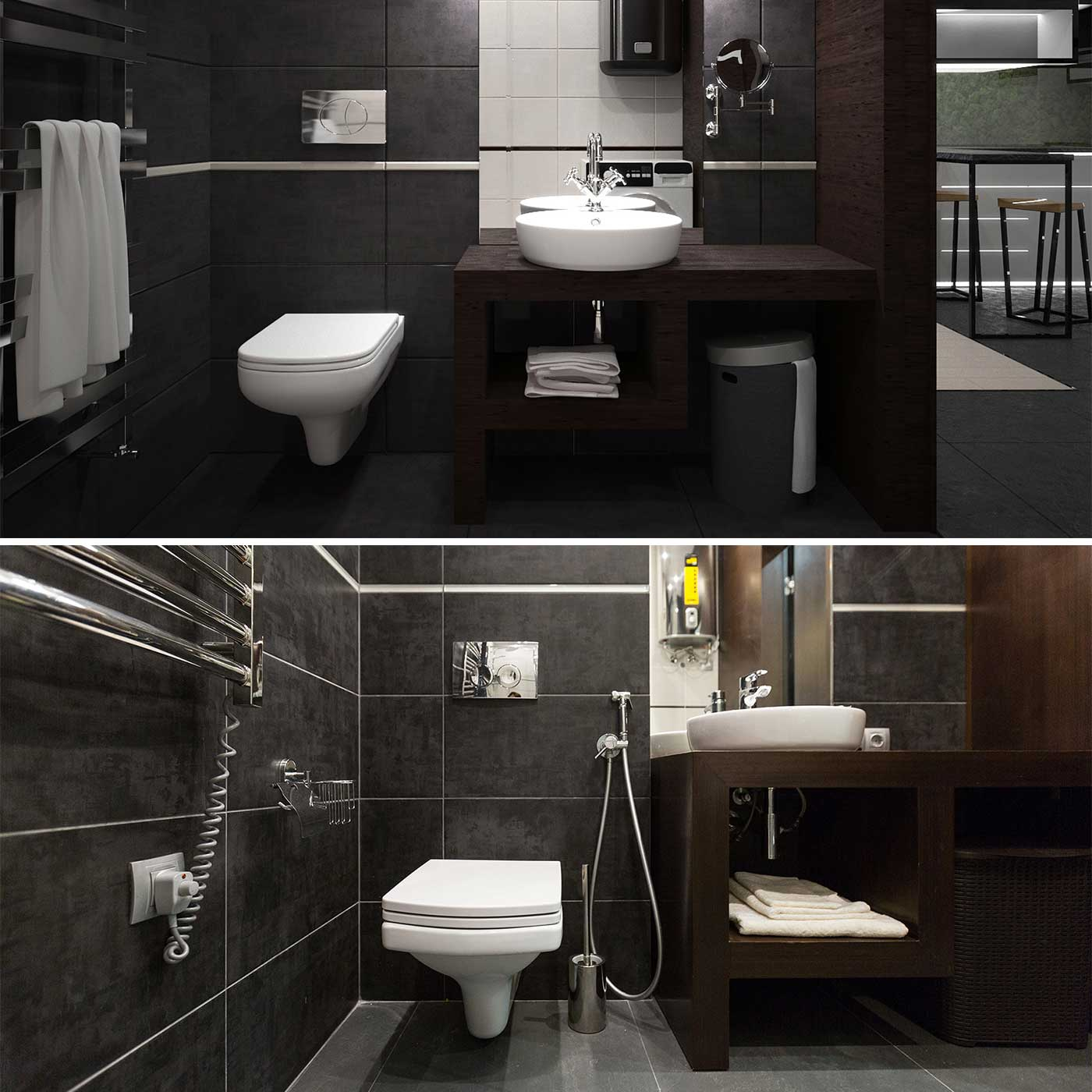 bathroom Interior design of small apartment, you can see visualization before and photo after construction